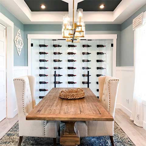 Wine Wall in Dining Room