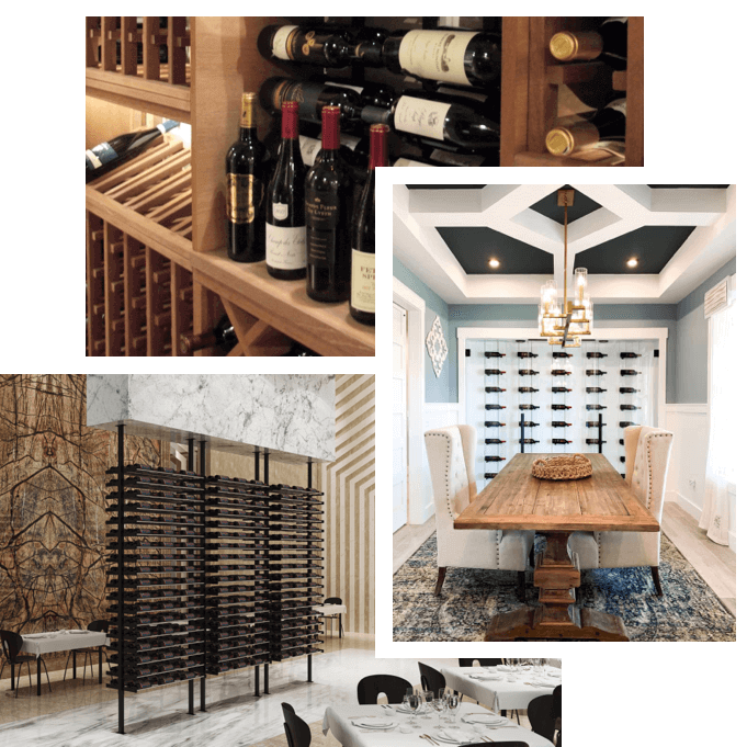 Collage of wine racks